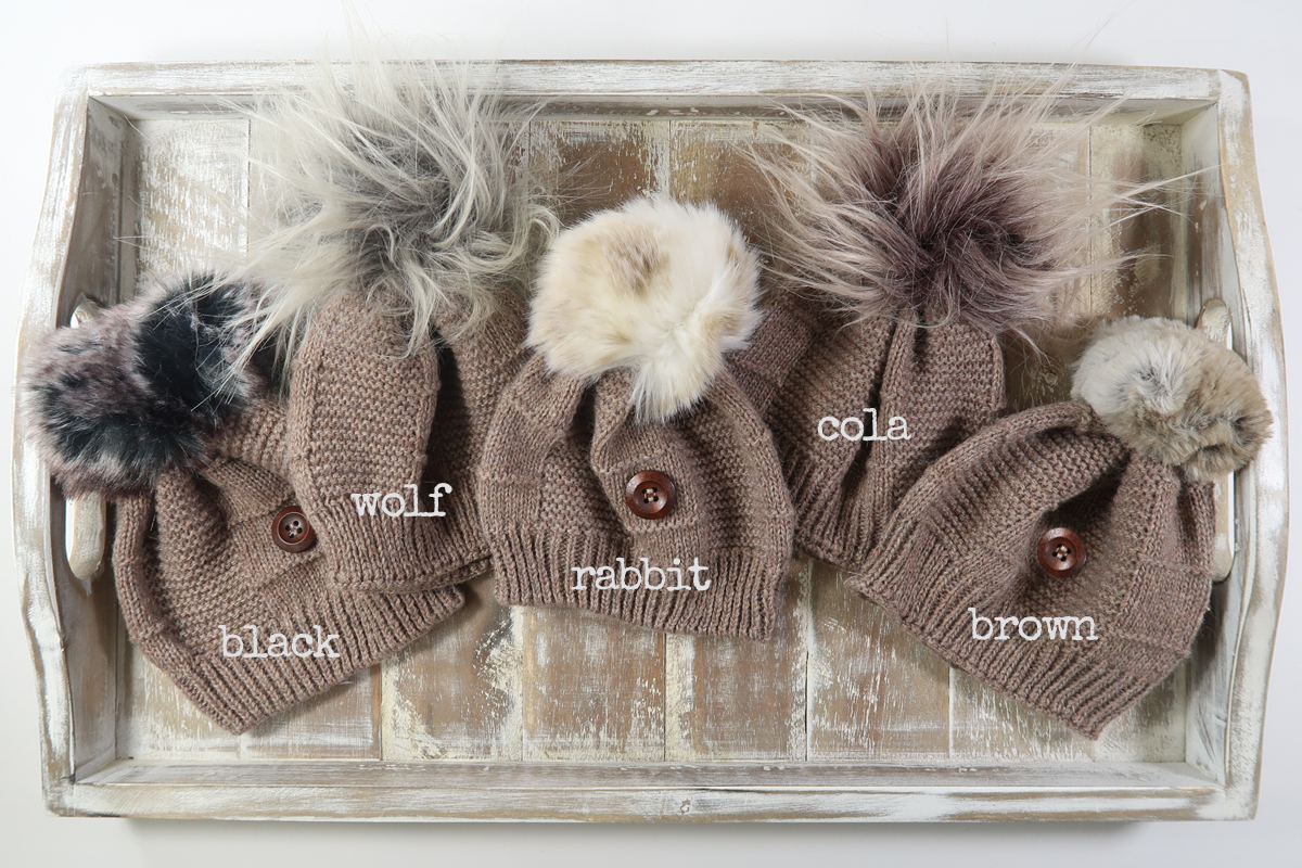 black-wolf-rabbit-cola-brown-pom-hats