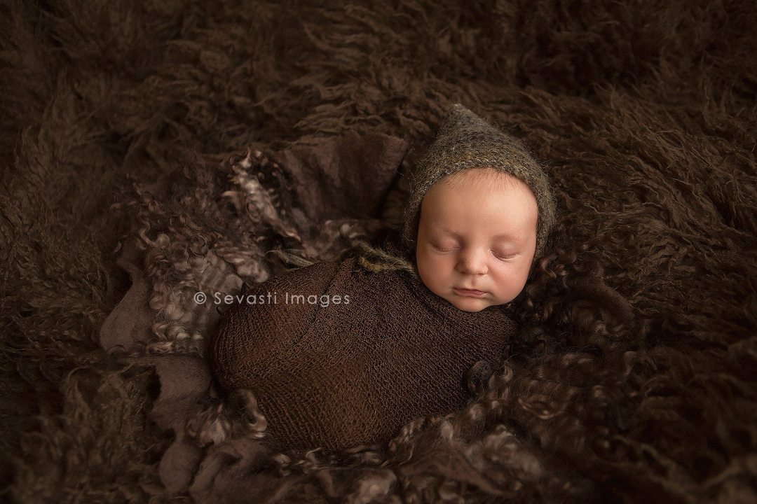 espresso newborn photography baby boy brown swaddle fur headband studio set